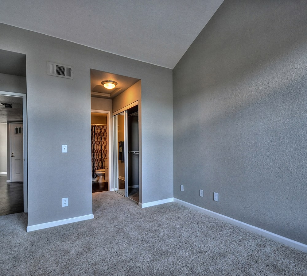 A spacious bedroom with a walk-in closet at Larkspur Woods in Sacramento, California