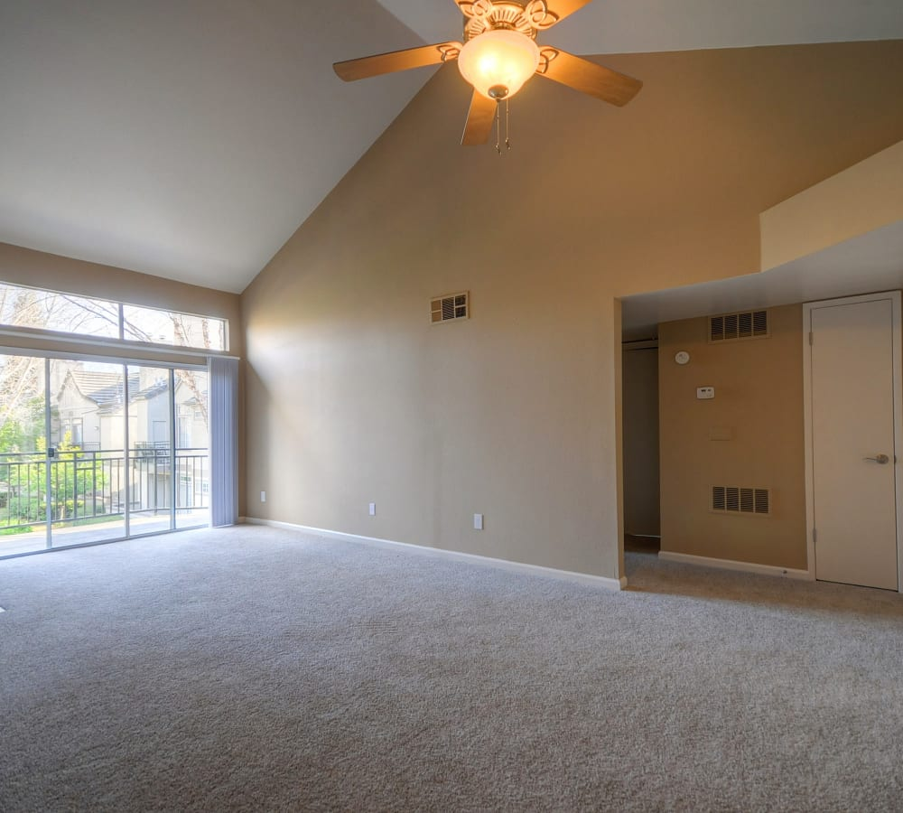 A living room with plush carpeting at Larkspur Woods in Sacramento, California