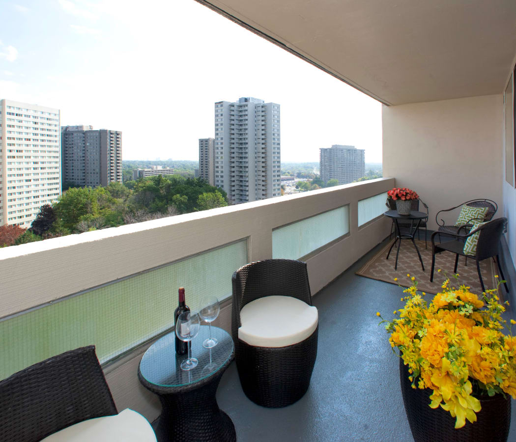 View of the Mississauga skyline from a private balcony at Mississauga Place