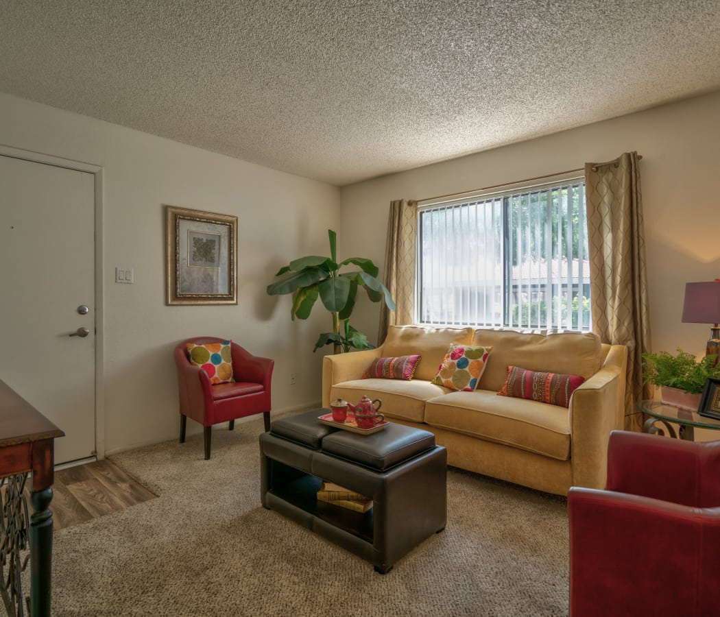 Well-decorated living room at Argenta Apartment Homes in Mesa, Arizona