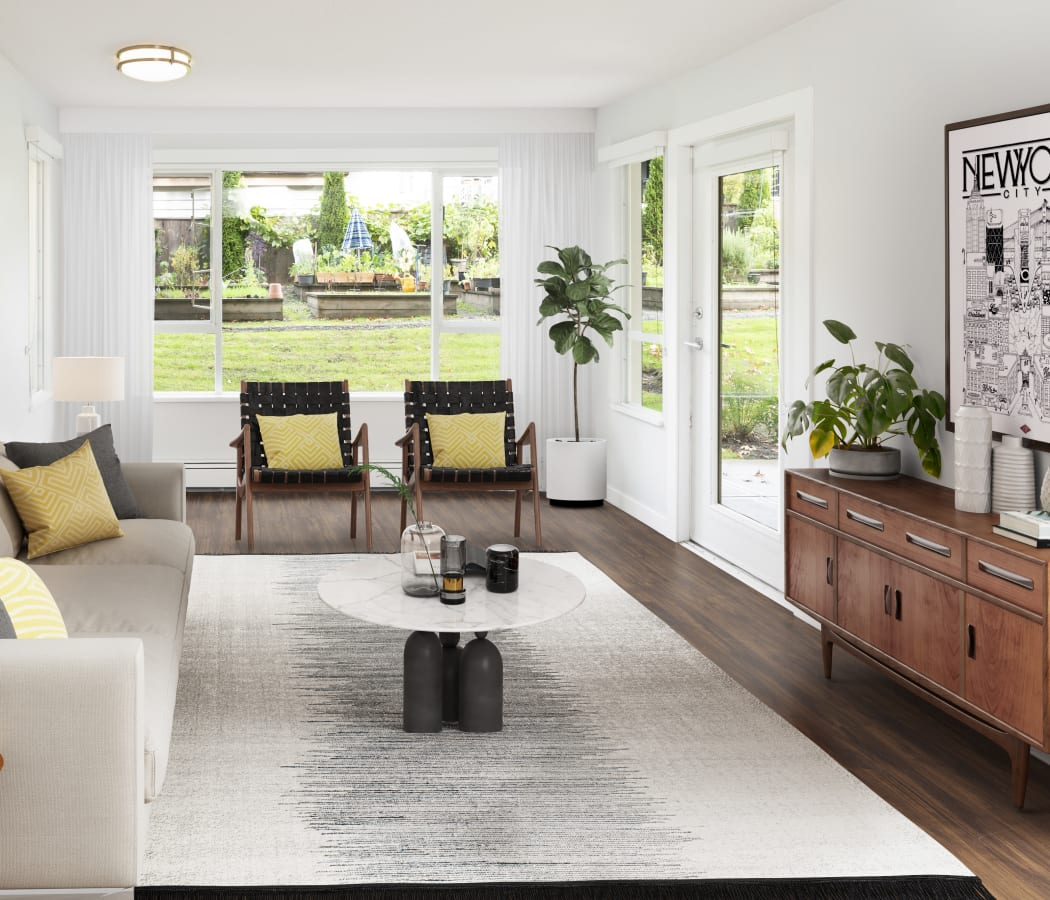 Large open living room at Larchway Gardens in Vancouver