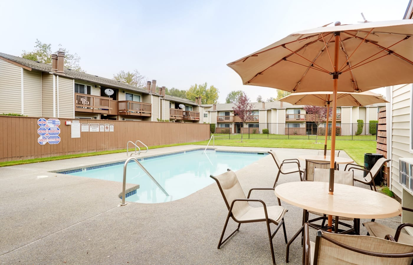 Pool area at Arbor Chase Apartment Homes in Kent, WA