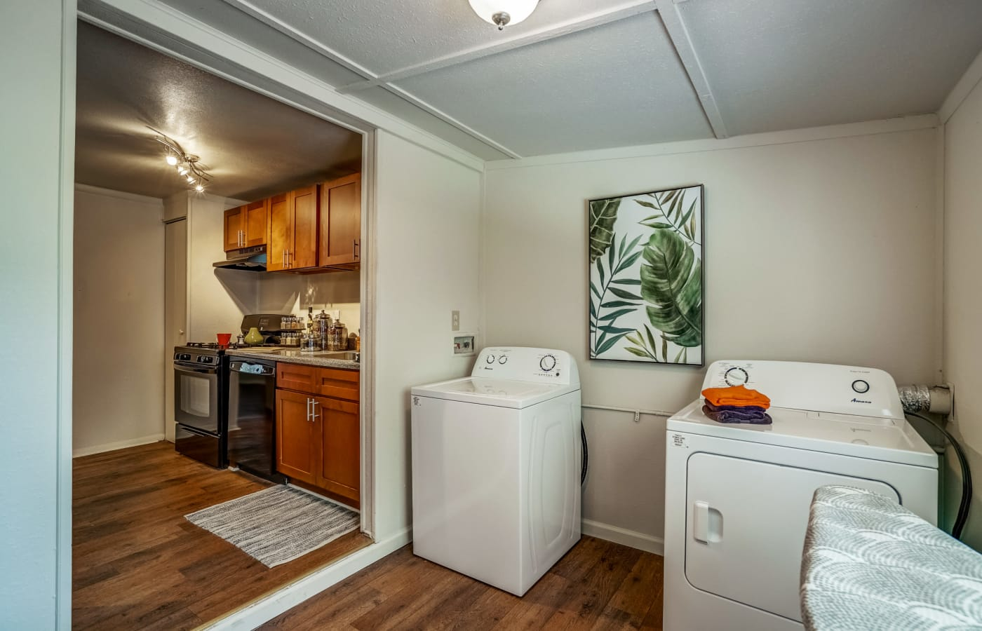 In-unit laundry in model townhome at Avalon Townhomes in Hampton, VA