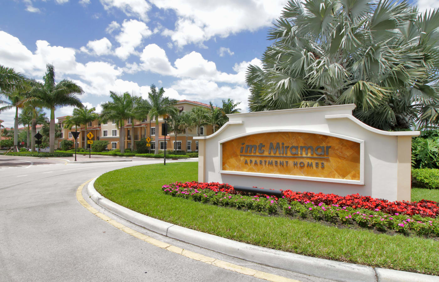 Our sign welcomes residents and guests to IMT Miramar in Miramar, FL