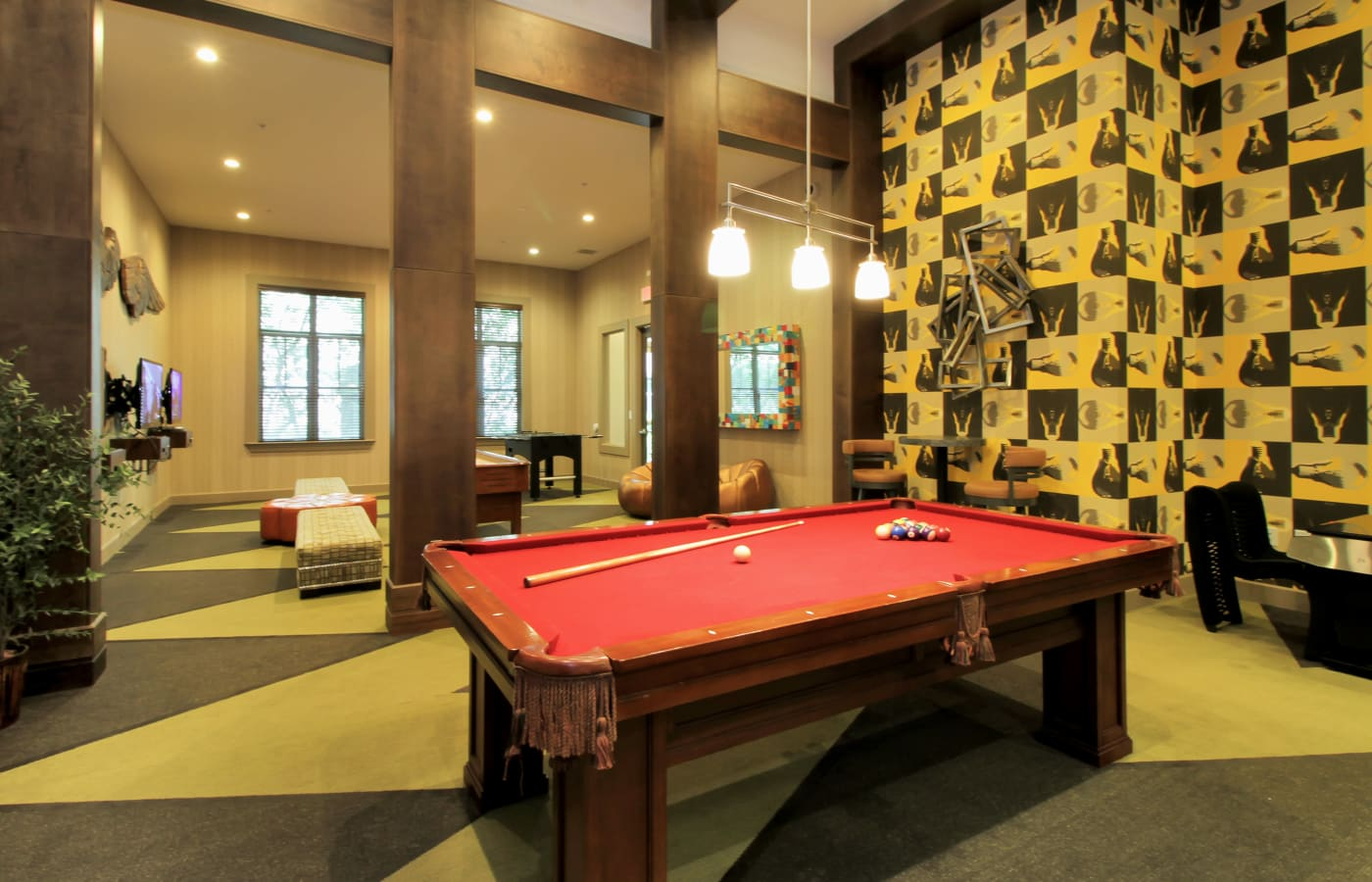 Resident clubhouse with billiards table at IMT Miramar in Miramar, Florida