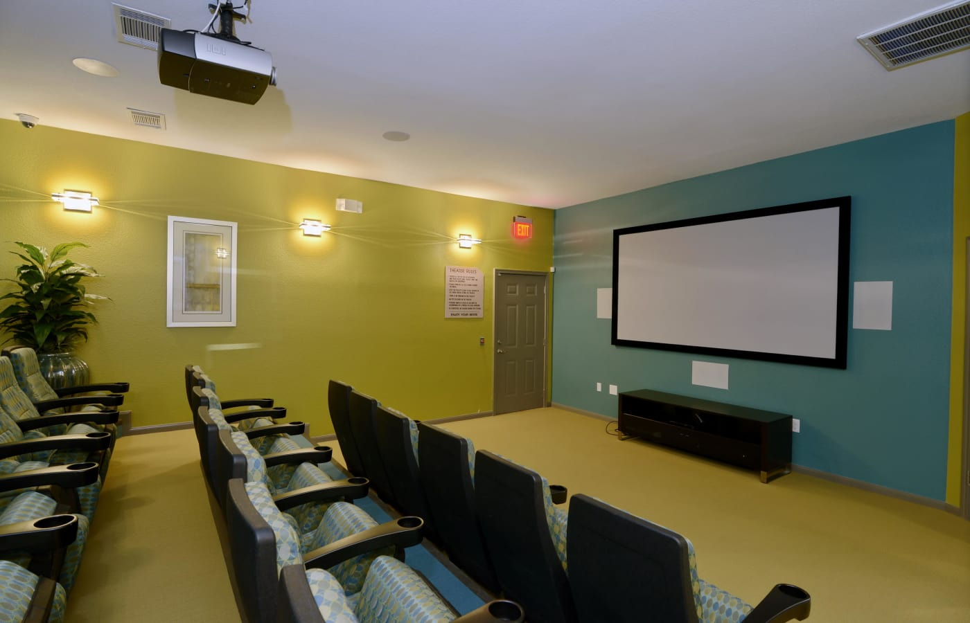 Onsite movie theater at IMT At The Medical Center in Houston, Texas