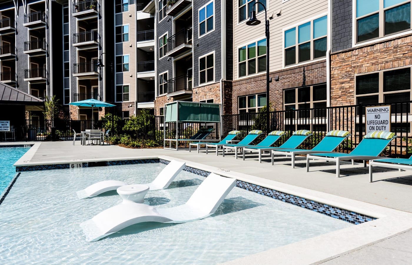 Beautiful swimming pool at apartments in Smyrna, Georgia