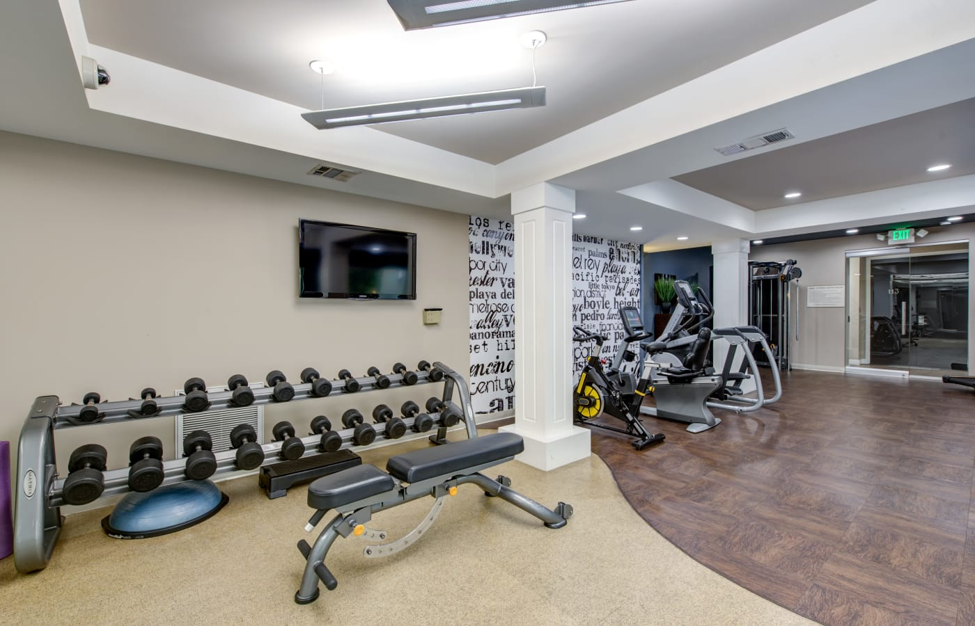 Well-equipped fitness center at IMT Beverly Arnaz in Los Angeles, California