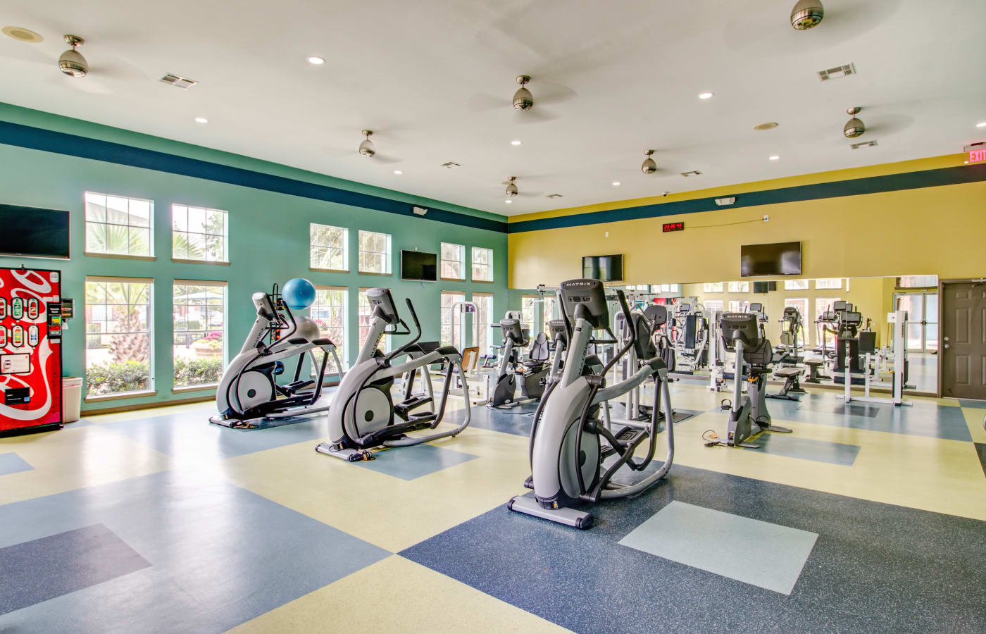 Well-equipped fitness center at IMT At The Medical Center in Houston, Texas