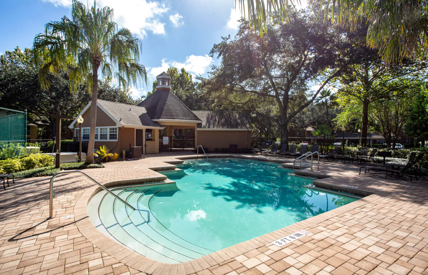 Sparkling swimming pool on a sunny day at IMT Newport Colony in Casselberry, Florida