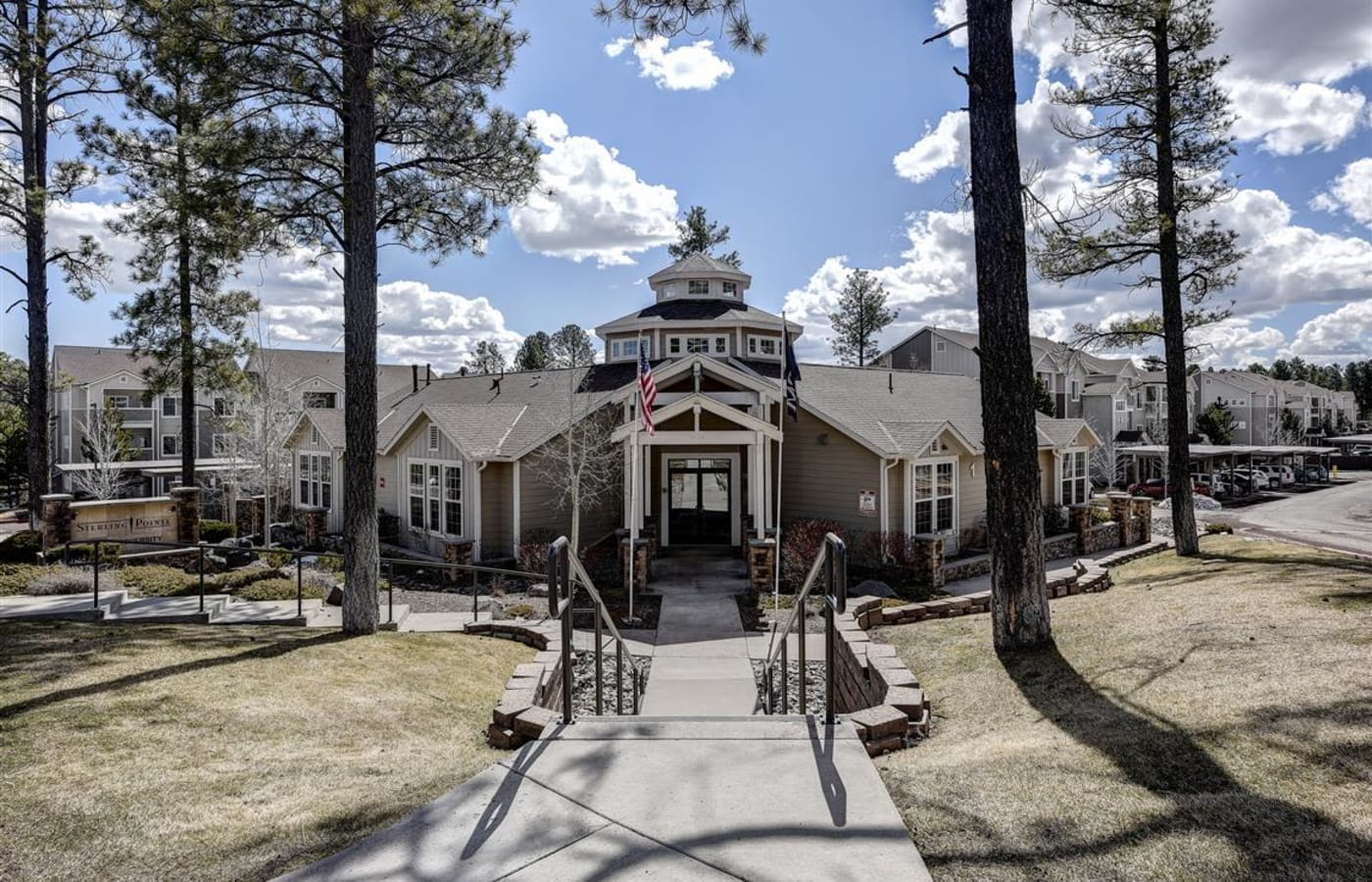 Exterior view our lavish clubhouse at Sterling Pointe in Flagstaff, AZ