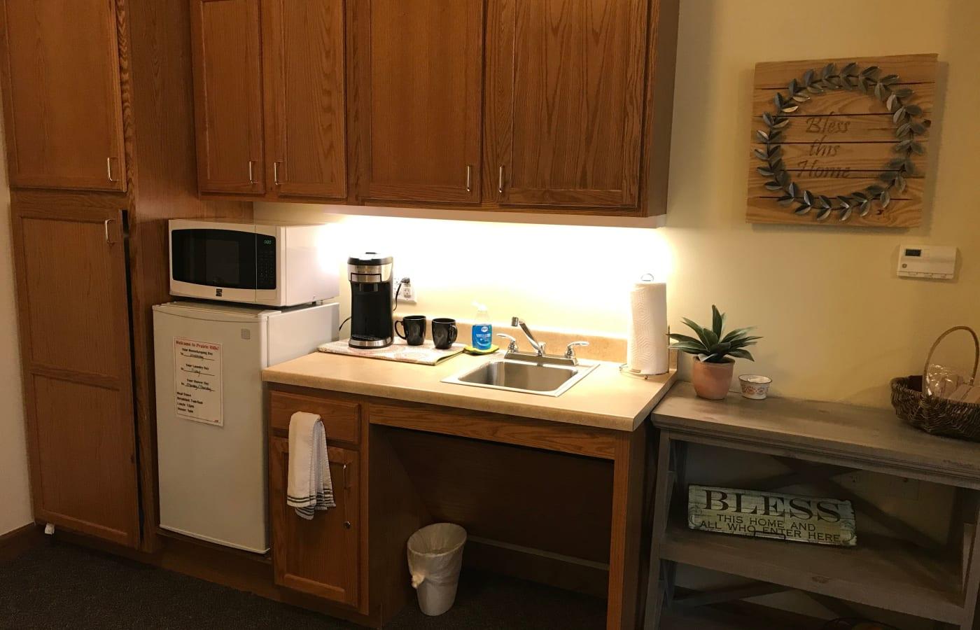 A model apartment kitchen at Prairie Hills Senior Living in Des Moines, Iowa