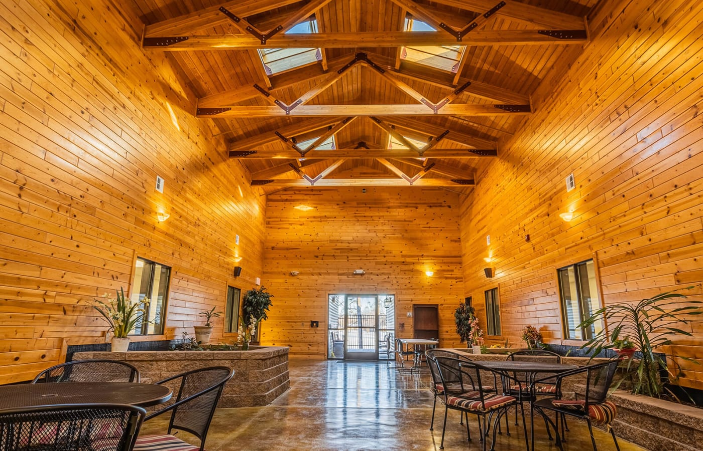 Cathedral ceiling and paneling in woods room at Traditions of Owatonna in Owatonna, Minnesota