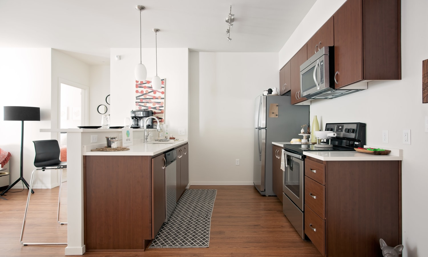 Modern and bright kitchen at Grant Park Village in Portland, OR