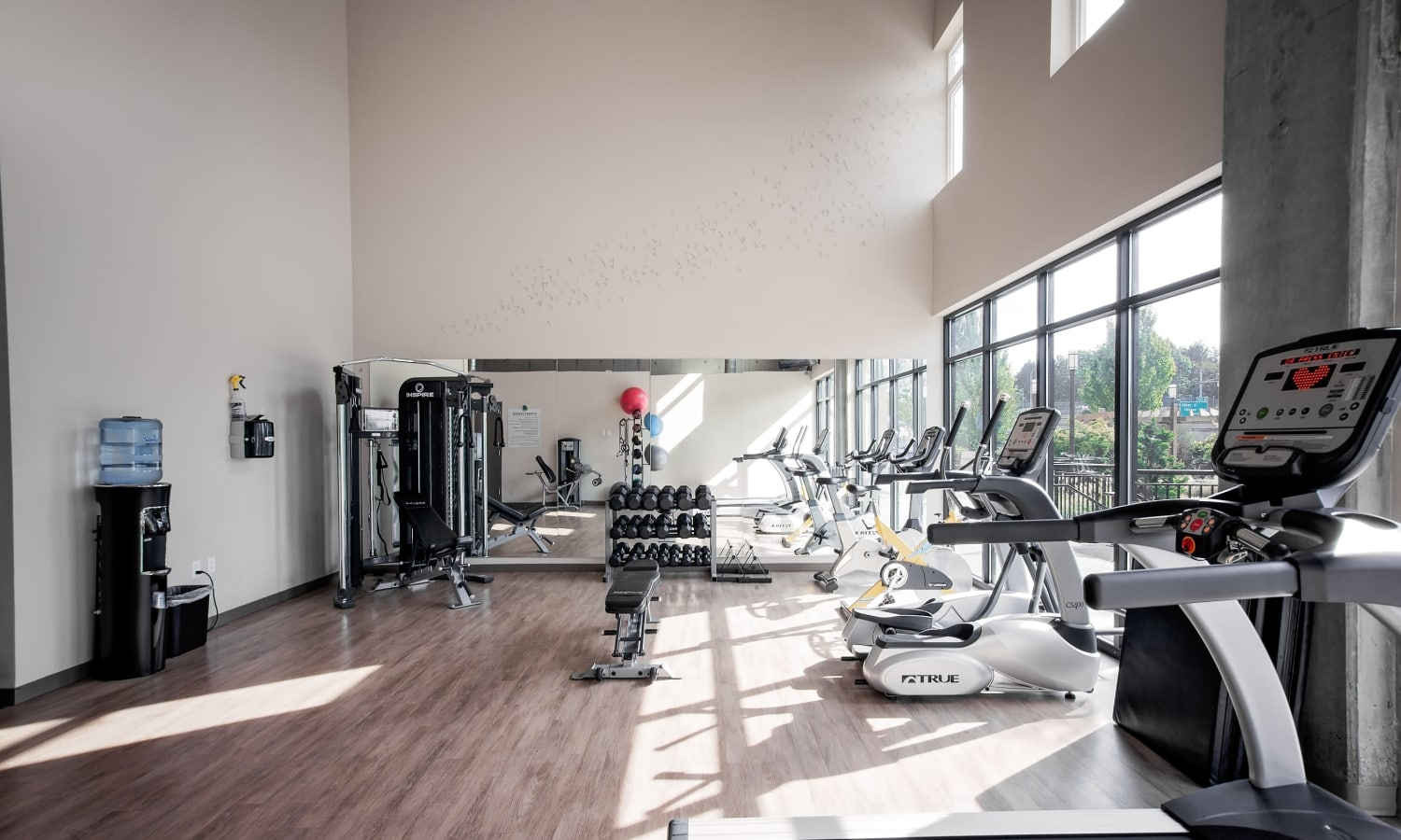 On-site, fully equipped fitness center at Grant Park Village in Portland, OR