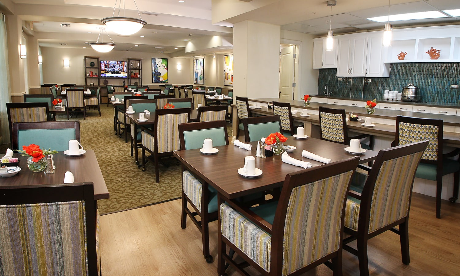 open dining hall at Prestonwood Court in Plano, Texas
