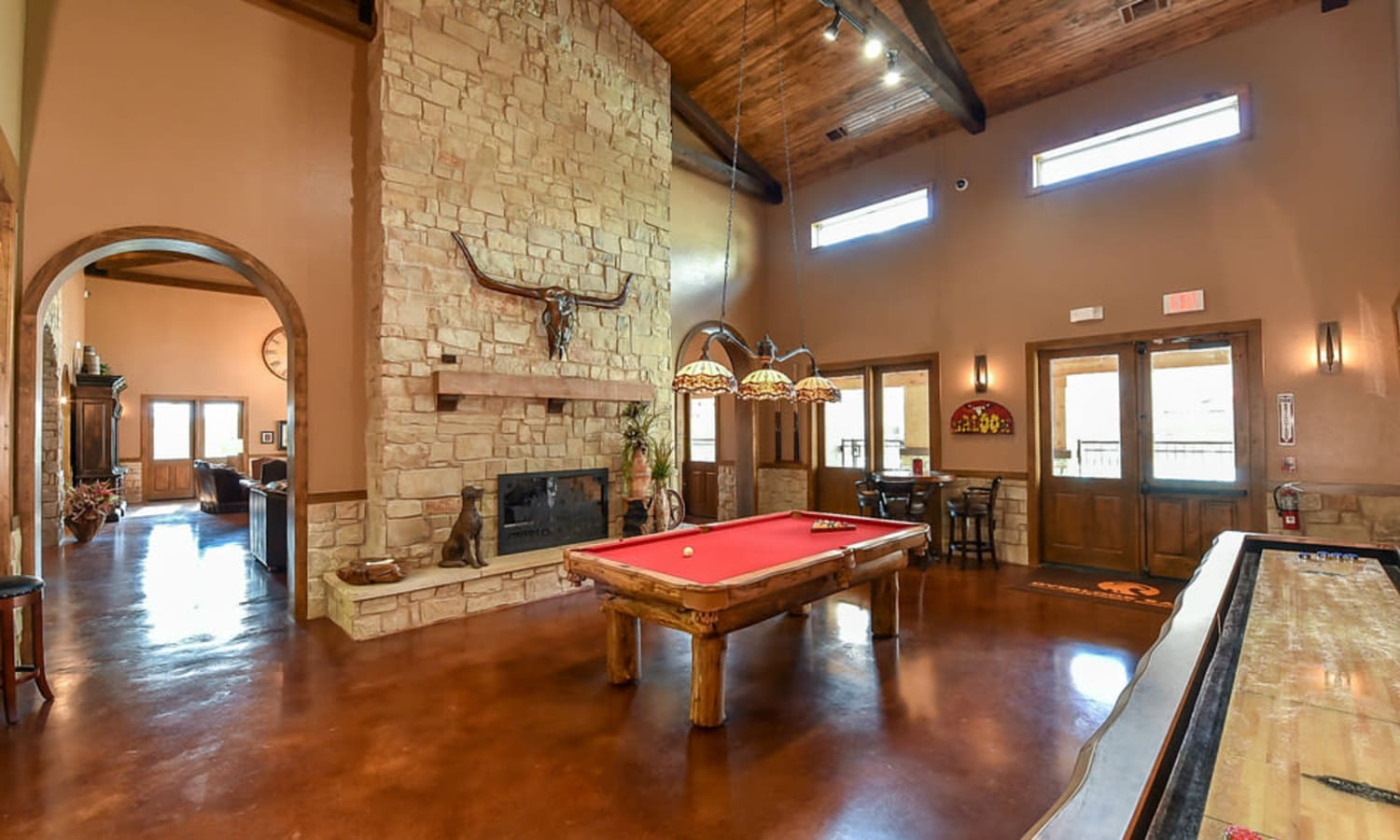 The game room at the clubhouse at Overlook Ranch in Fort Worth, Texas