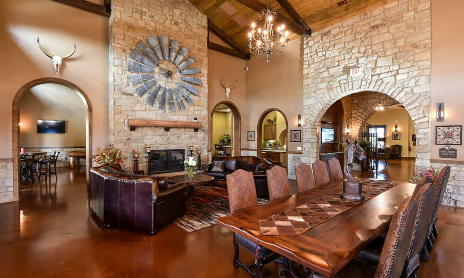 A large banquet area in the clubhouse at Overlook Ranch in Fort Worth, Texas