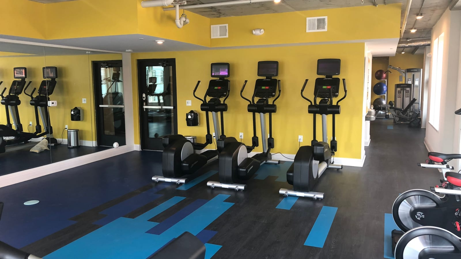 Renovated fitness center at The Edge in Richmond, Virginia
