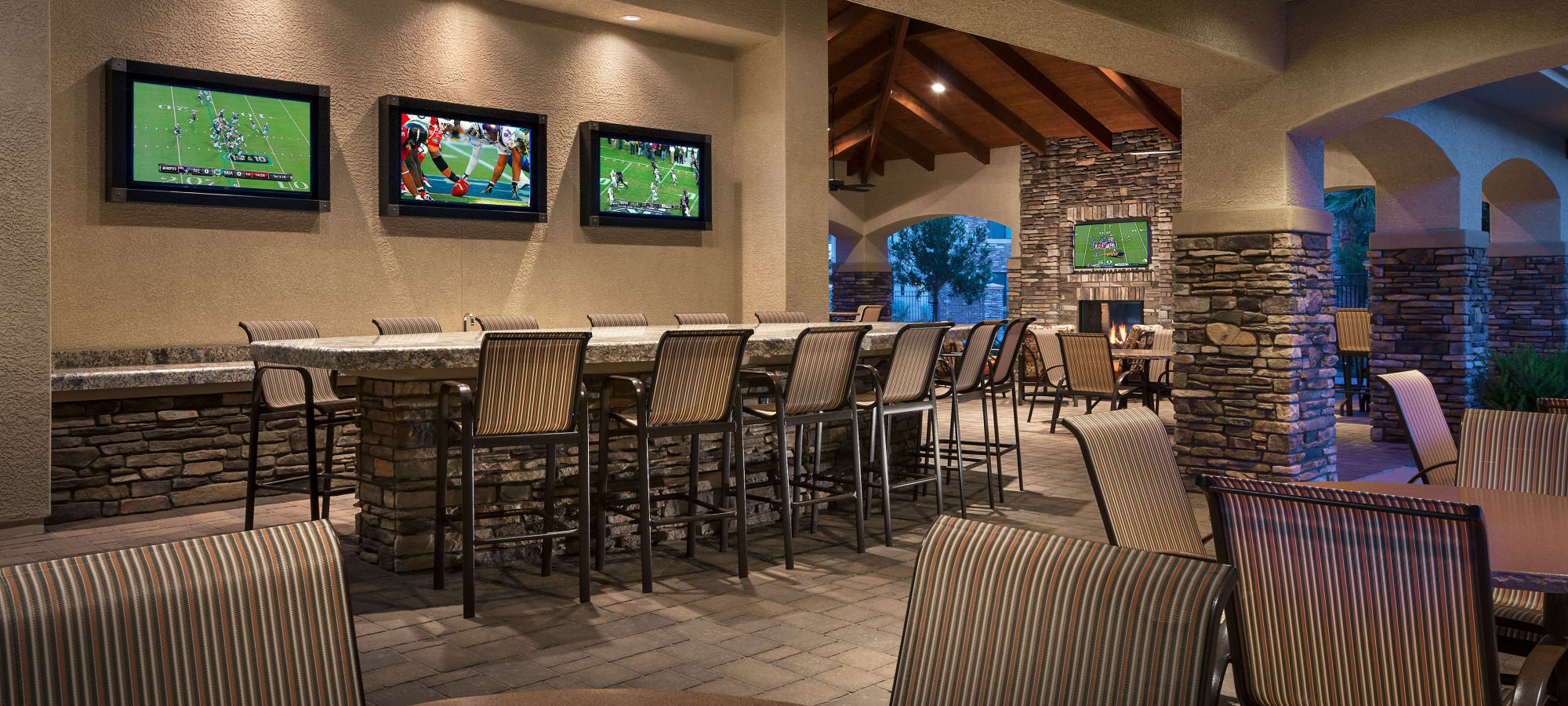 Sports bar and community area at San Travesia in Scottsdale, Arizona