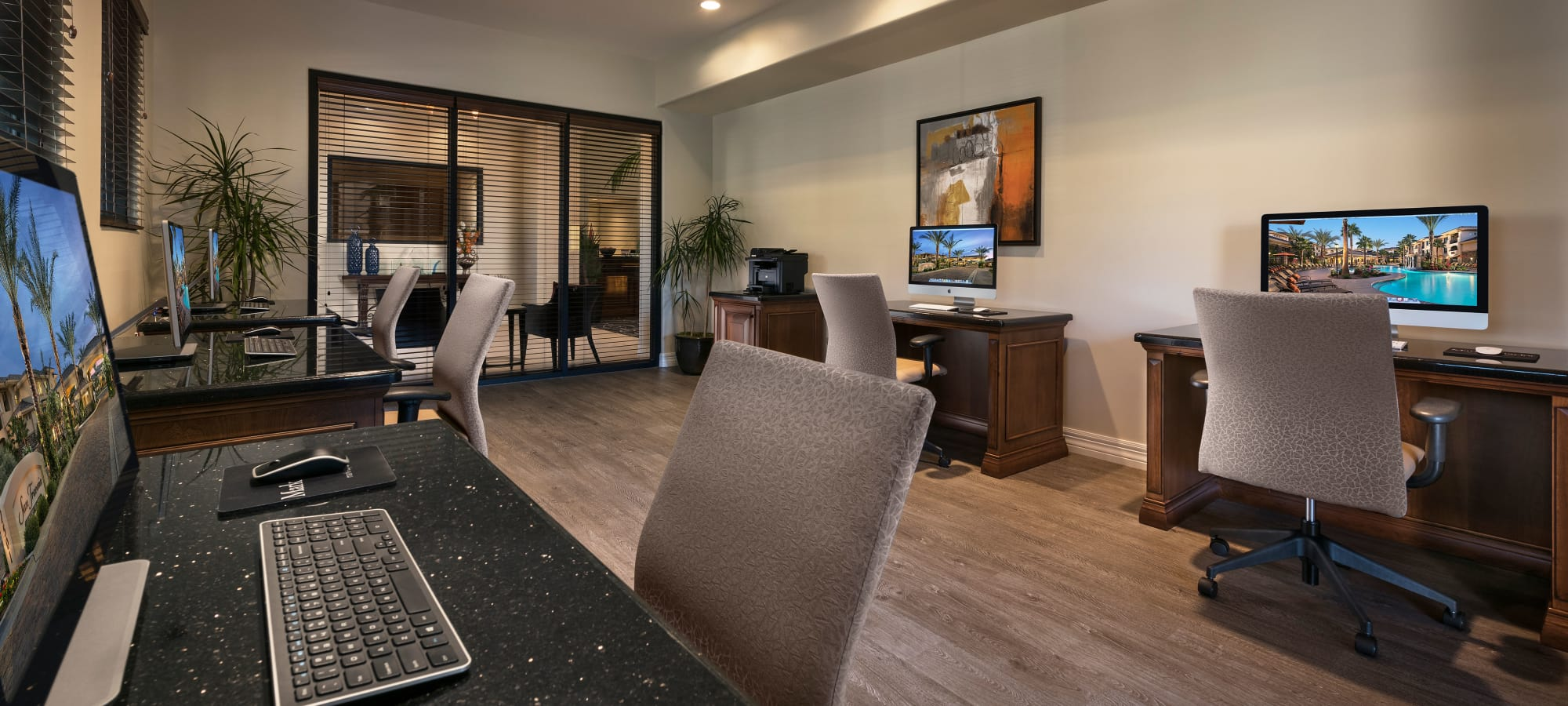 Business center with computers for resident use at San Travesia in Scottsdale, Arizona