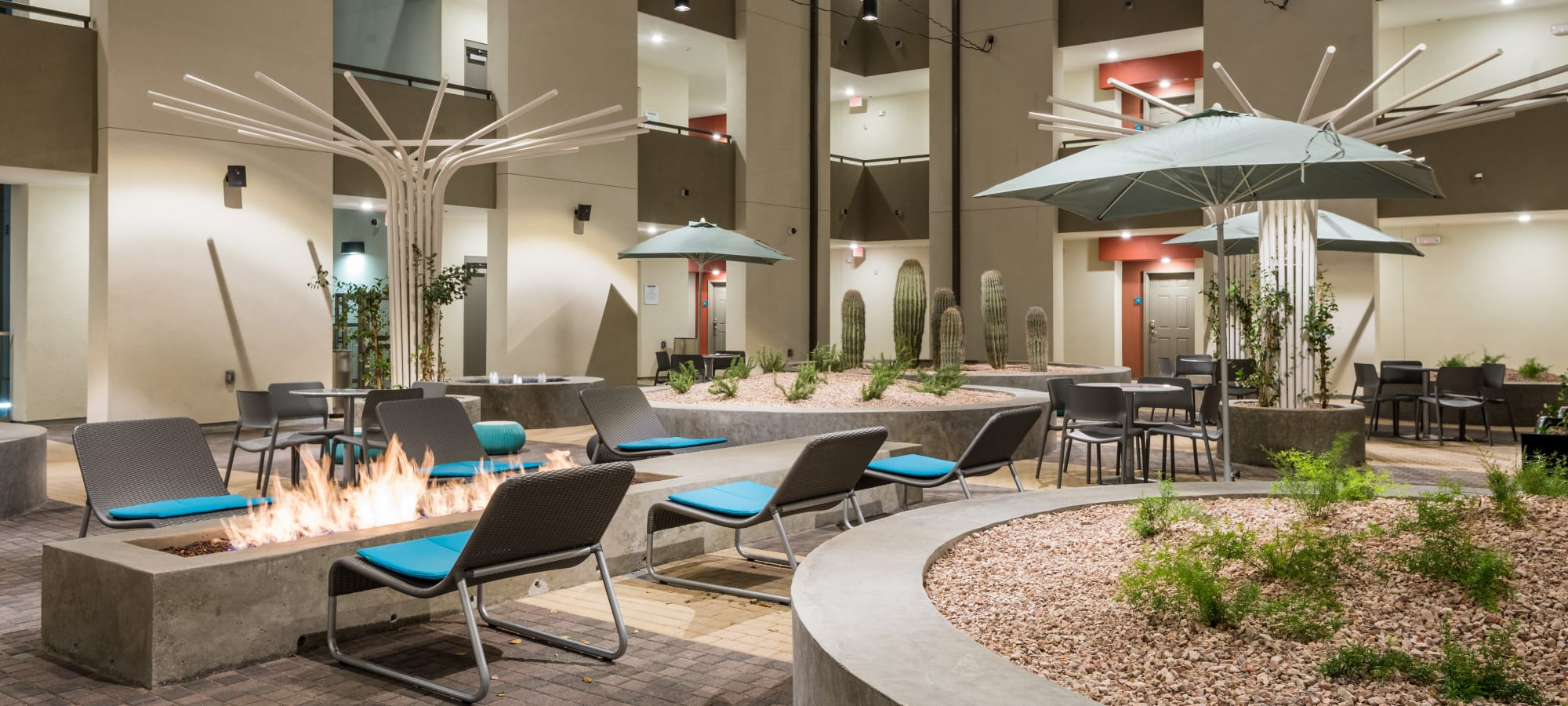 Comfortable seating around the fire pit in the courtyard at Capital Place in Phoenix, Arizona