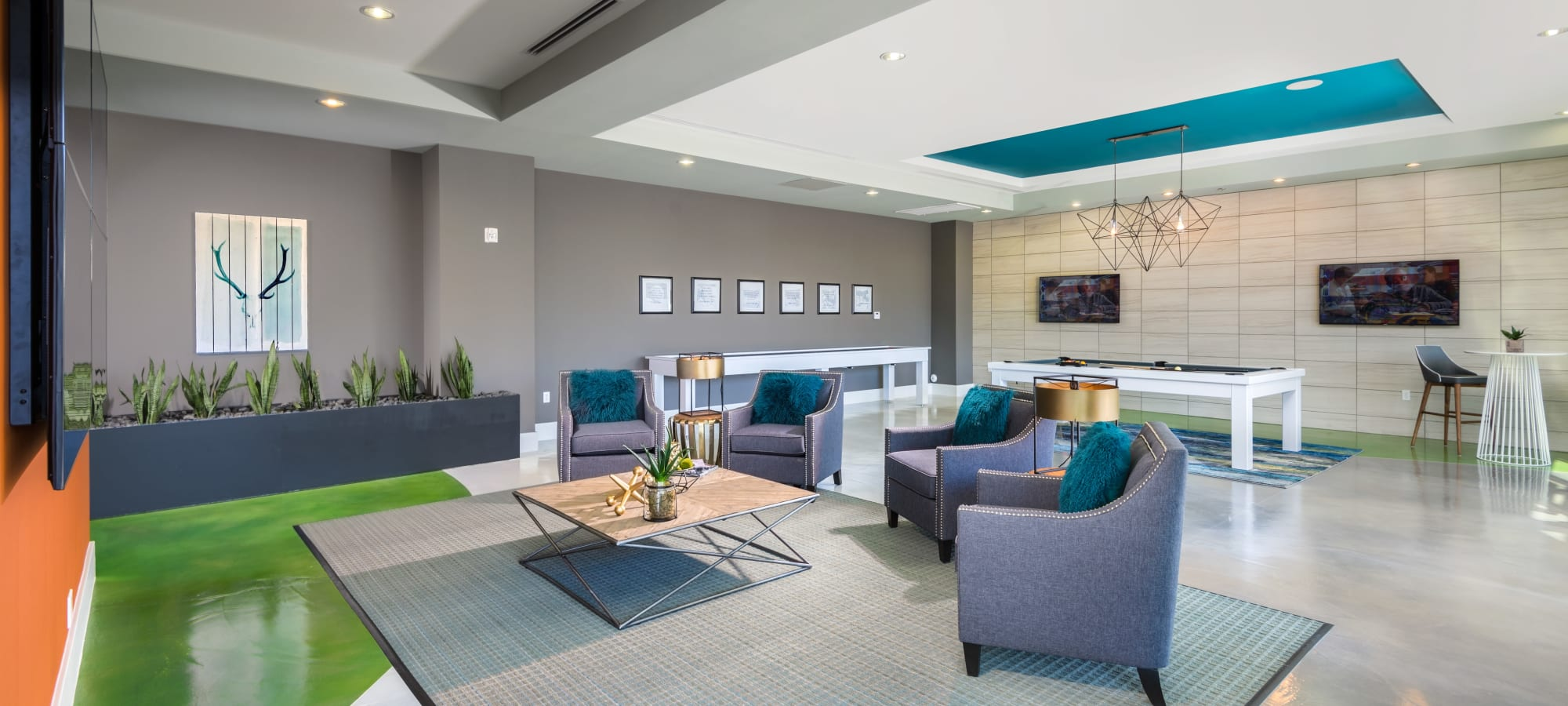 Great places to sit and chat with your neighbors in the clubhouse at Capital Place in Phoenix, Arizona