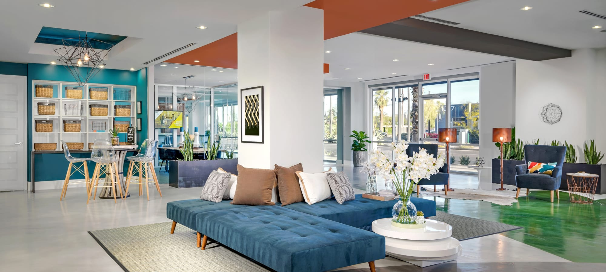 Gorgeous resident clubhouse interior at Capital Place in Phoenix, Arizona