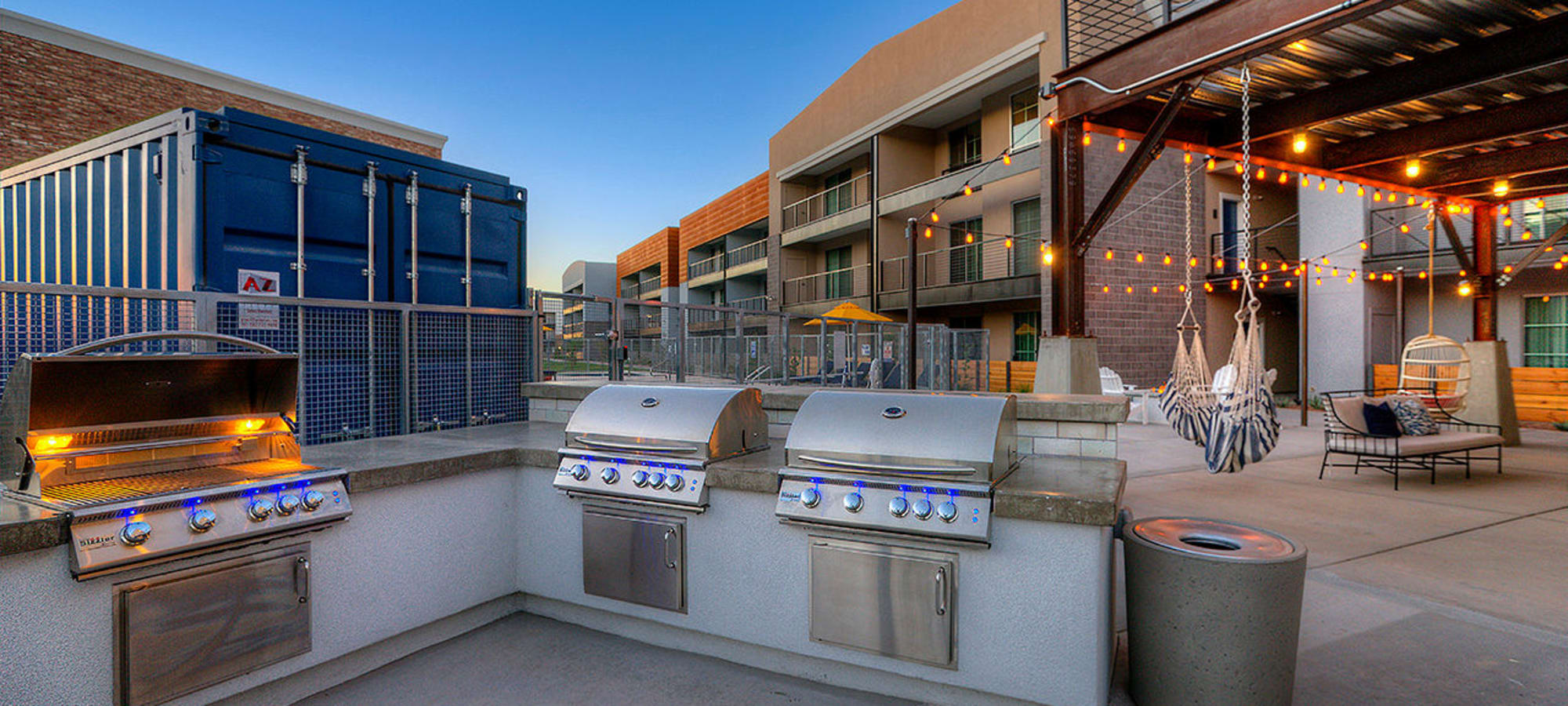 Barbecue area at District Lofts in Gilbert, Arizona