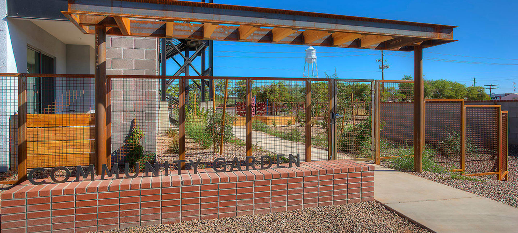 Beautiful community garden at District Lofts in Gilbert, Arizona