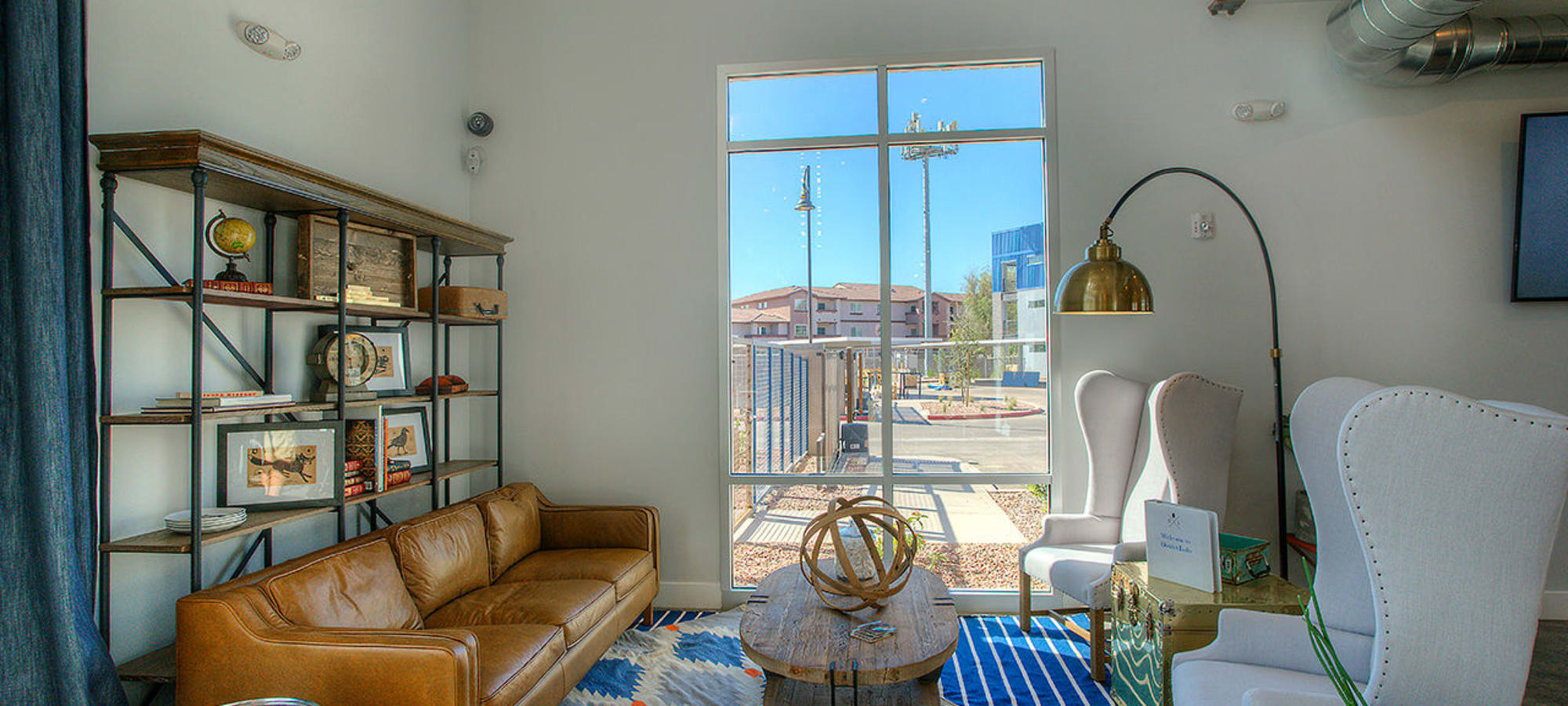 Cozy living area in model home at District Lofts in Gilbert, Arizona