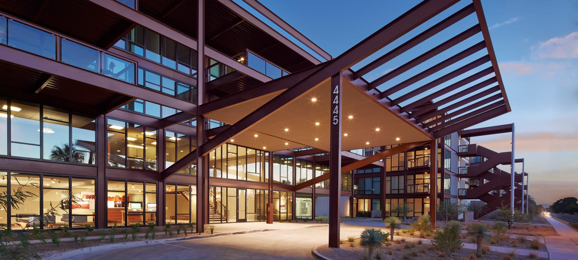 Exterior view of the entrance at Domus in Phoenix, Arizona