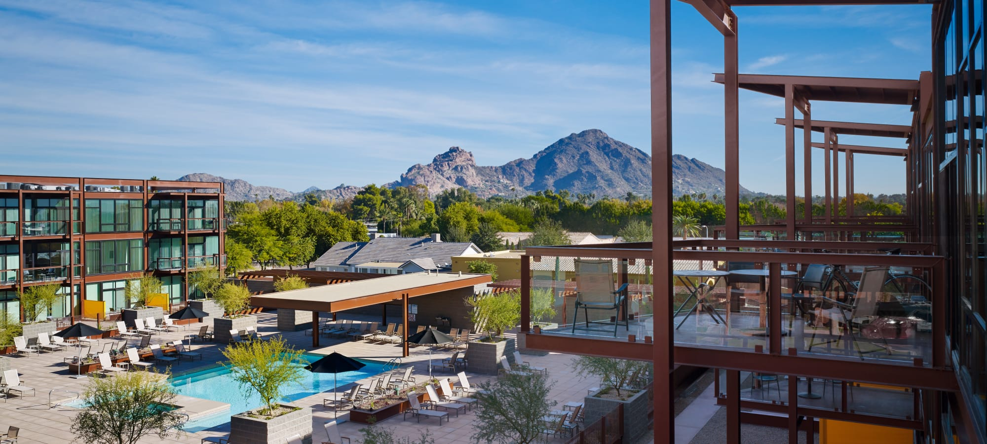 Beautiful mountain view from balcony of apartment home at Domus in Phoenix, Arizona