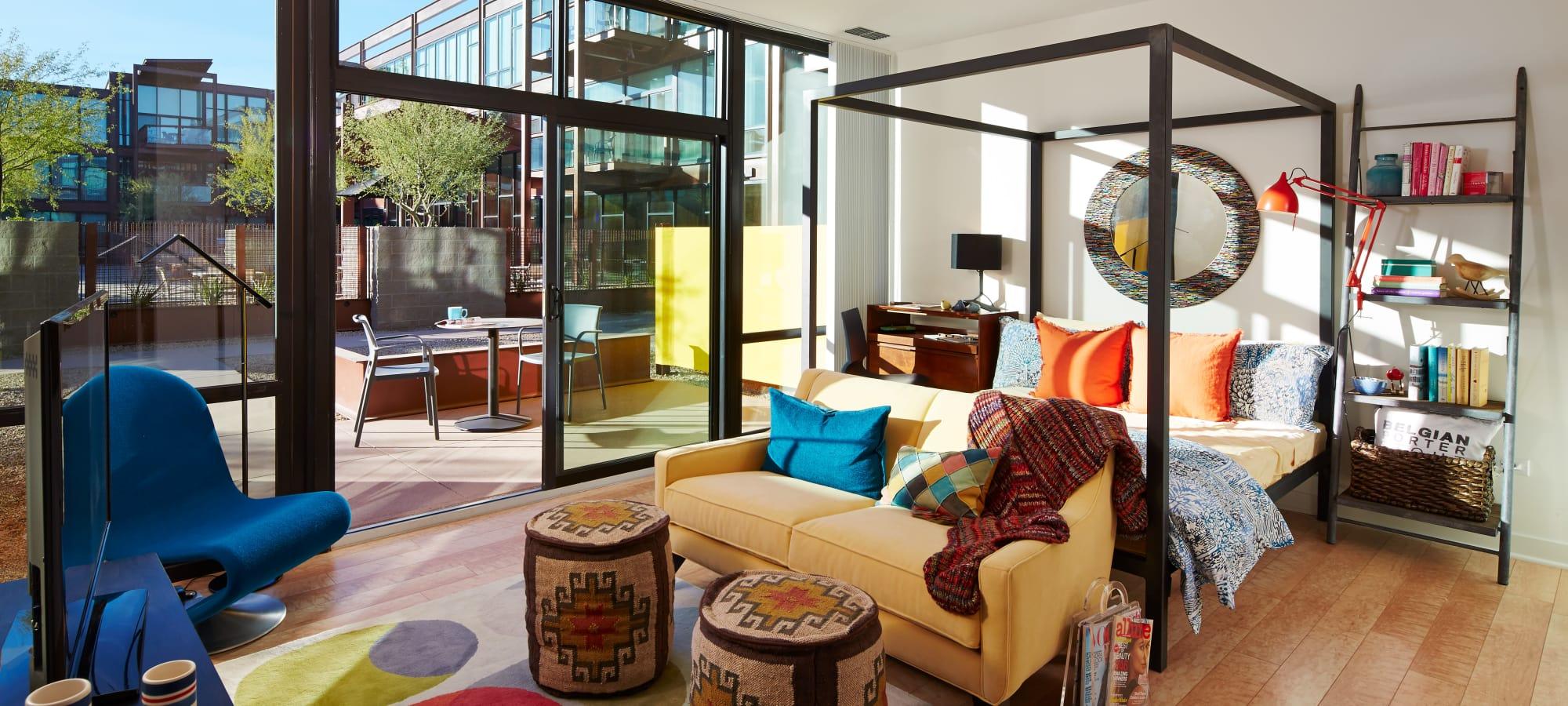 Open-concept living area in model home at Domus in Phoenix, Arizona