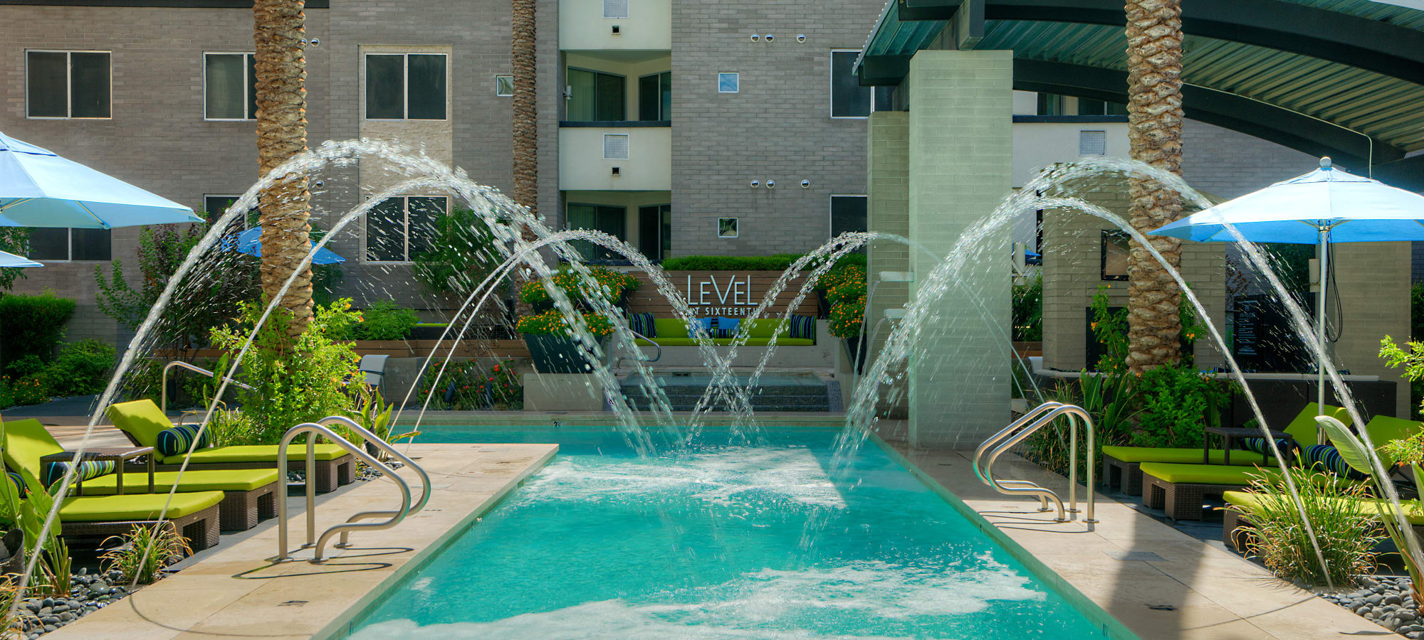 Fountains over the pool at Level at Sixteenth in Phoenix, Arizona