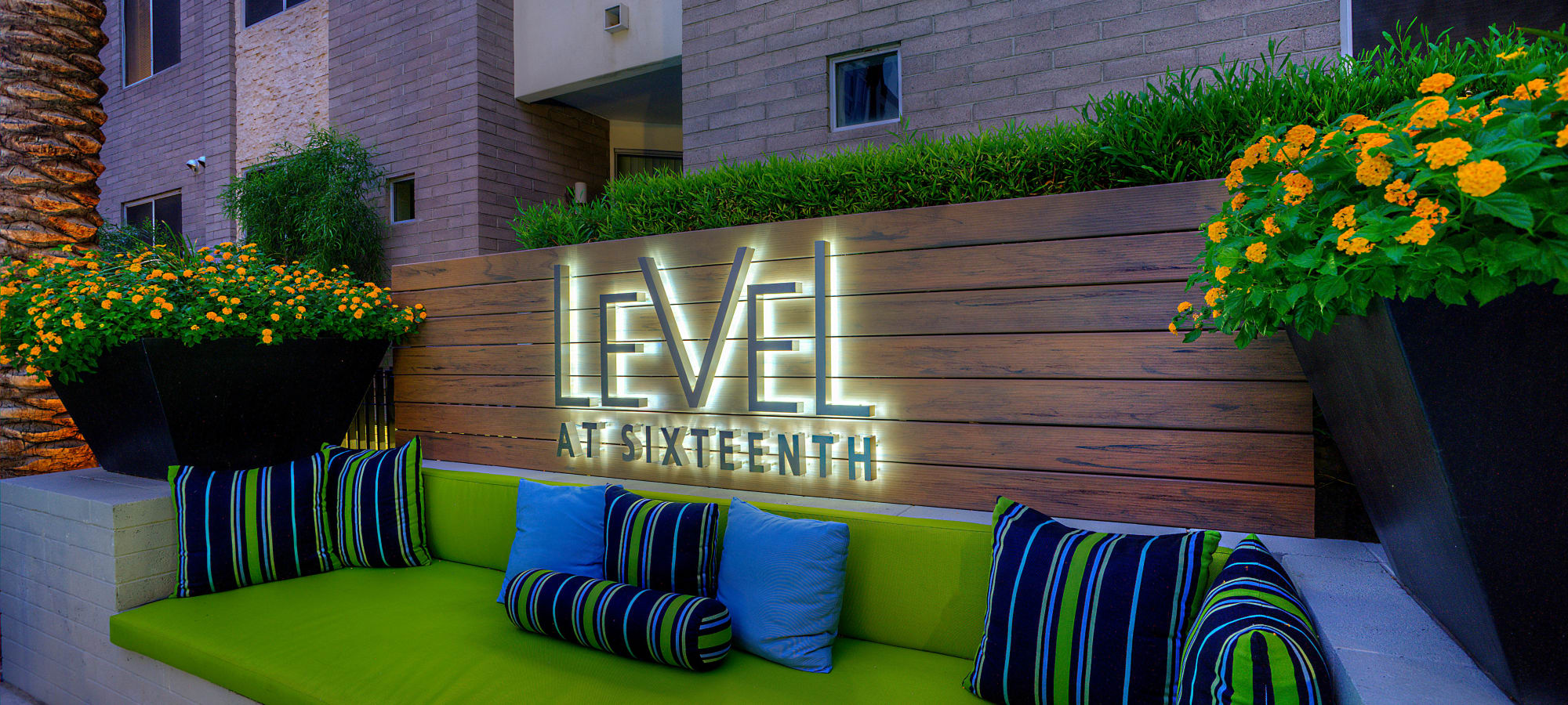 Our sign lit up in the evening at Level at Sixteenth in Phoenix, Arizona