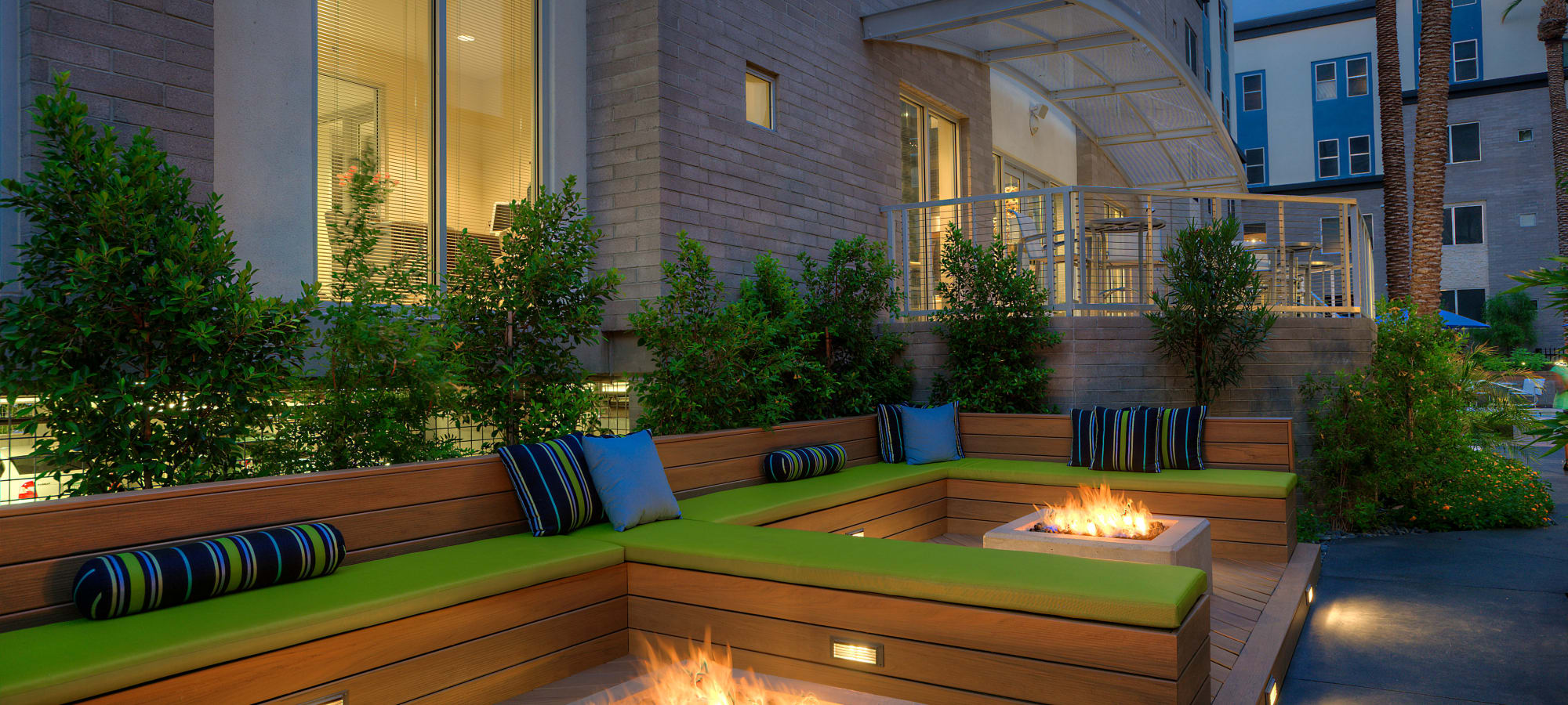 Fire pits at night at Level at Sixteenth in Phoenix, Arizona