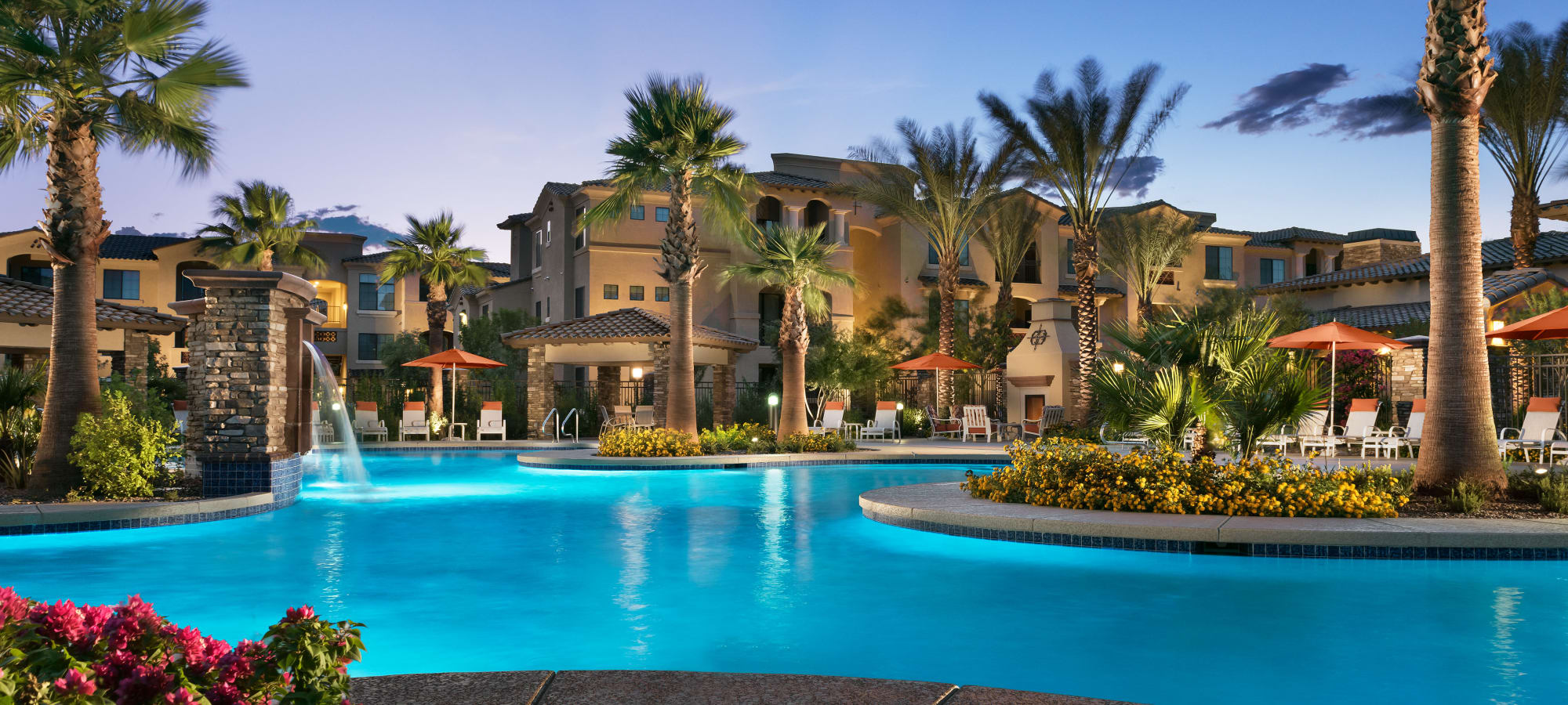 Luxurious swimming pool area at San Milan in Phoenix, Arizona