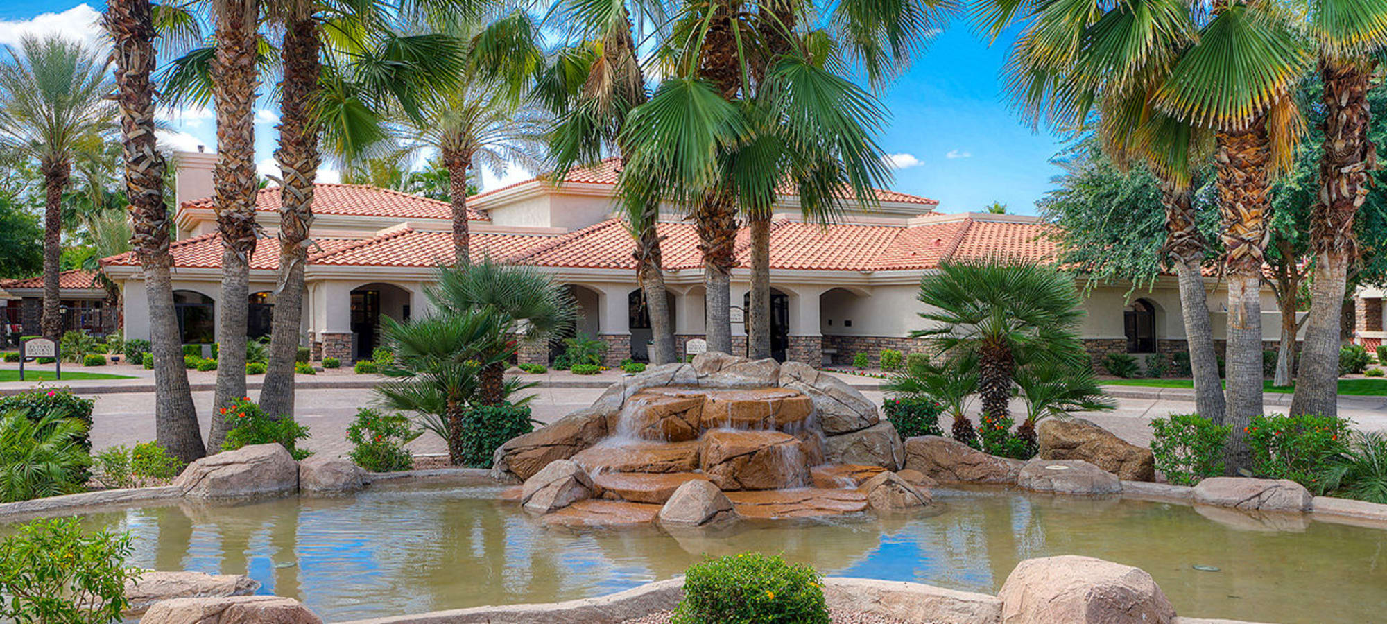 One of several gorgeous water features around the community at San Palmilla in Tempe, Arizona