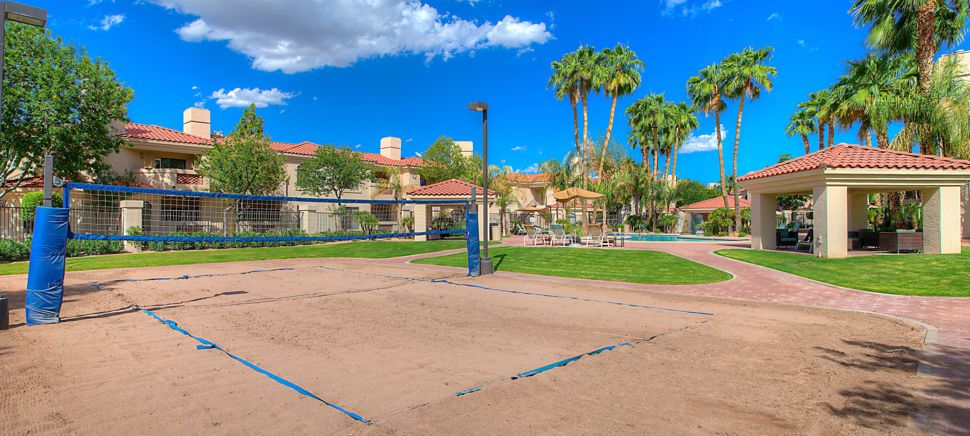 Onsite sand volleyball court at San Palmilla in Tempe, Arizona