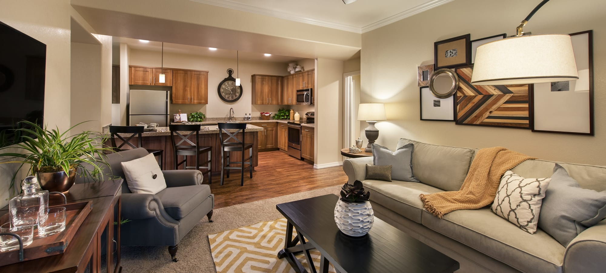 Modern decor in living area of model home at San Paseo in Phoenix, Arizona