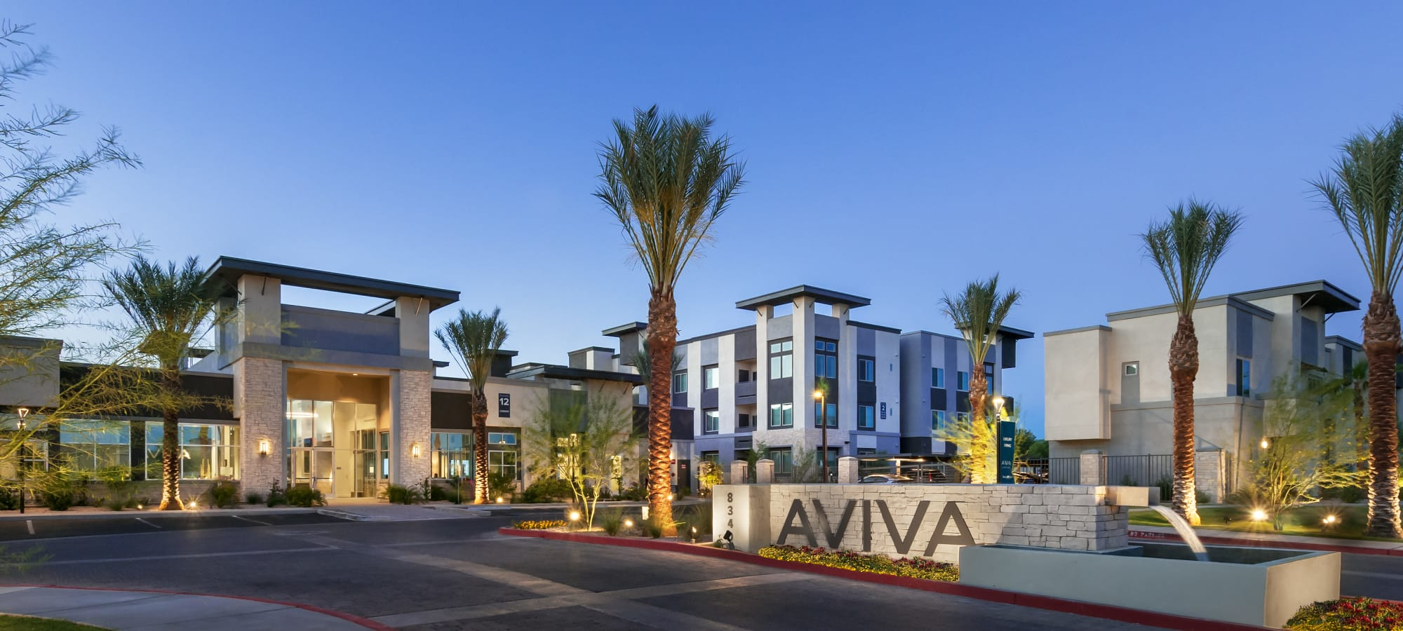 Entrance sign at Aviva in Mesa, Arizona