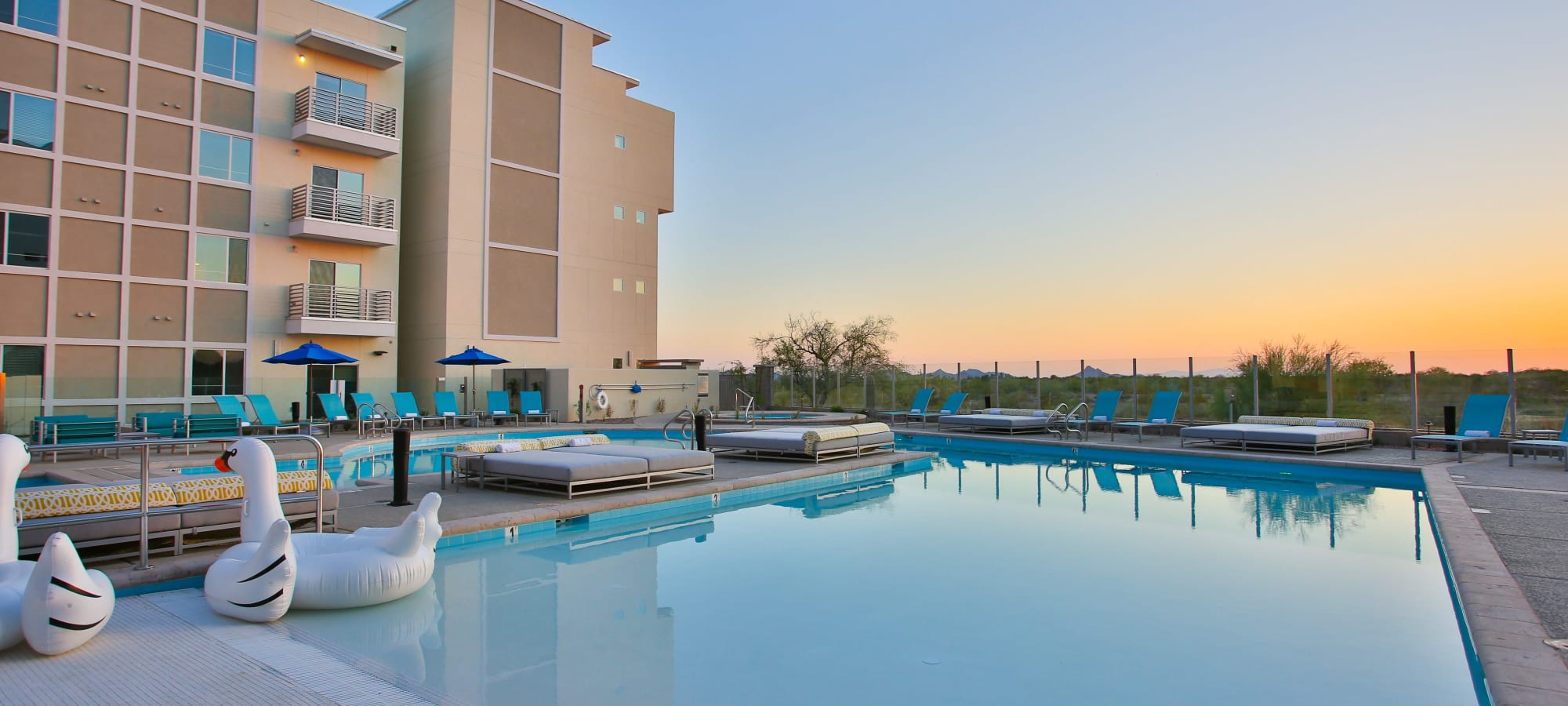 Swimming pool at sunrise at Slate Scottsdale in Phoenix, Arizona