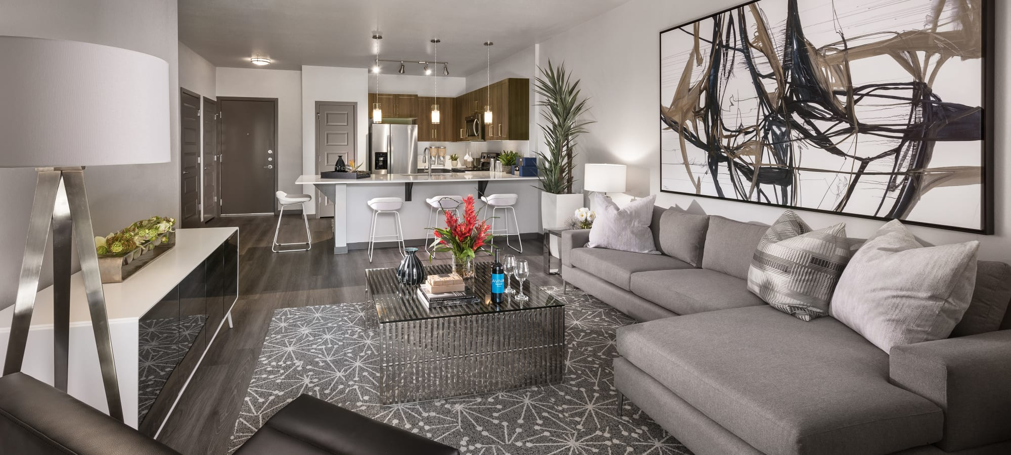 Spacious living room in model home at Aviva in Mesa, Arizona