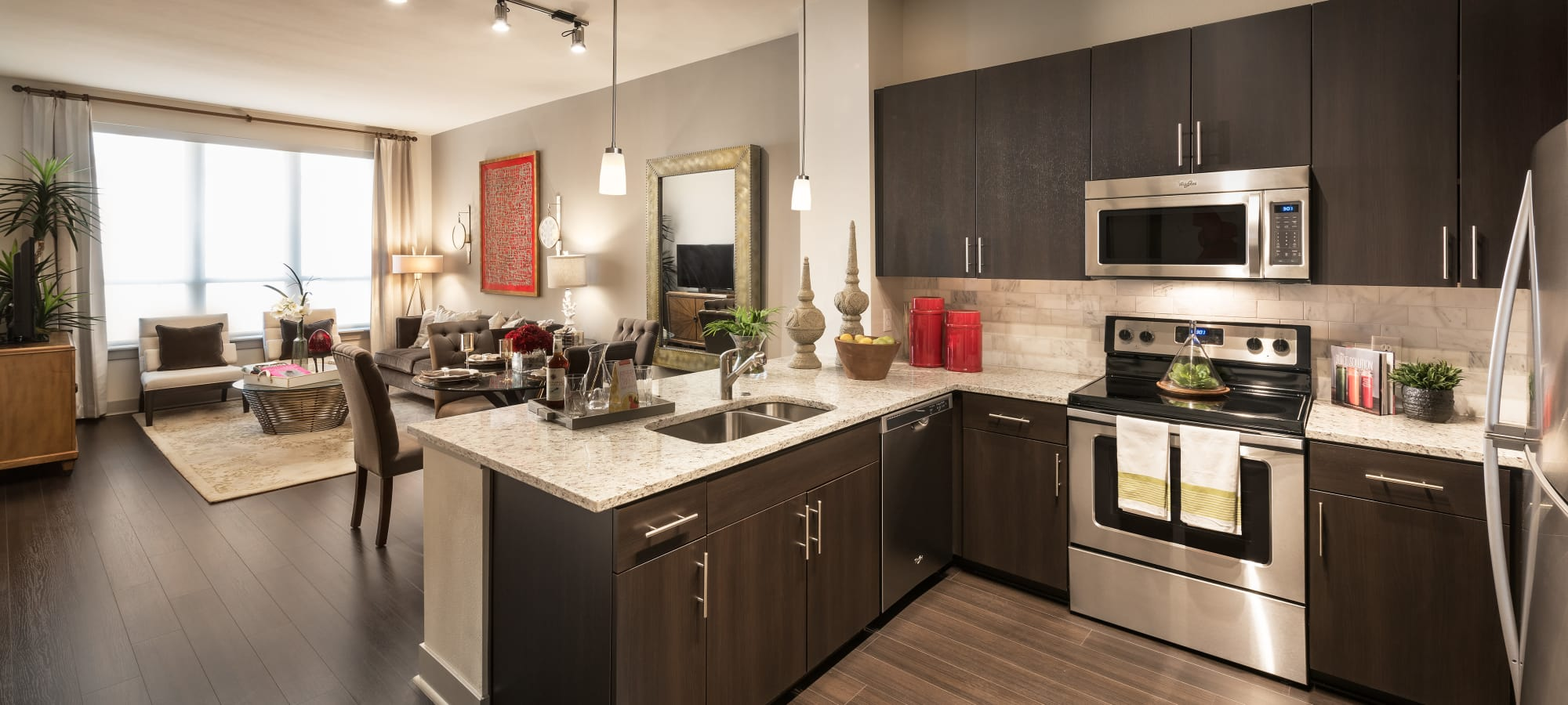 Stainless-steel appliances in model home at Emerson Mill Avenue in Tempe, Arizona