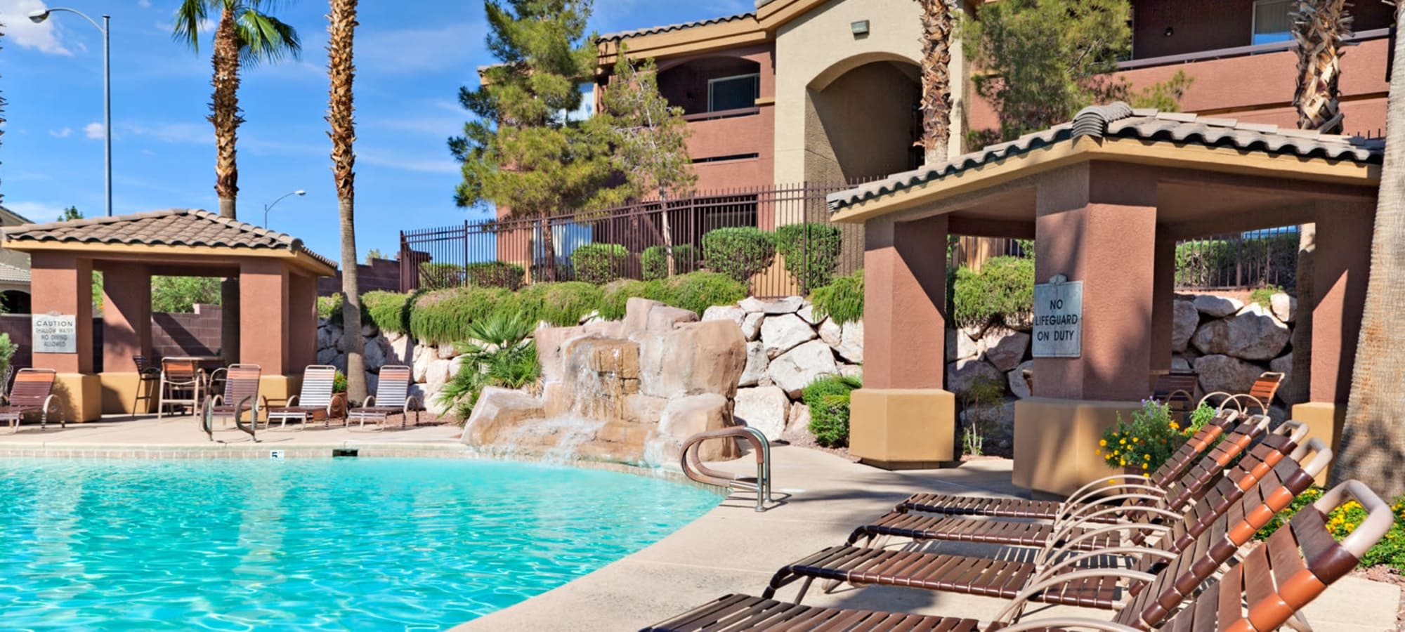 Cabanas and poolside lounge chairs at Allegro at La Entrada in Henderson, Nevada