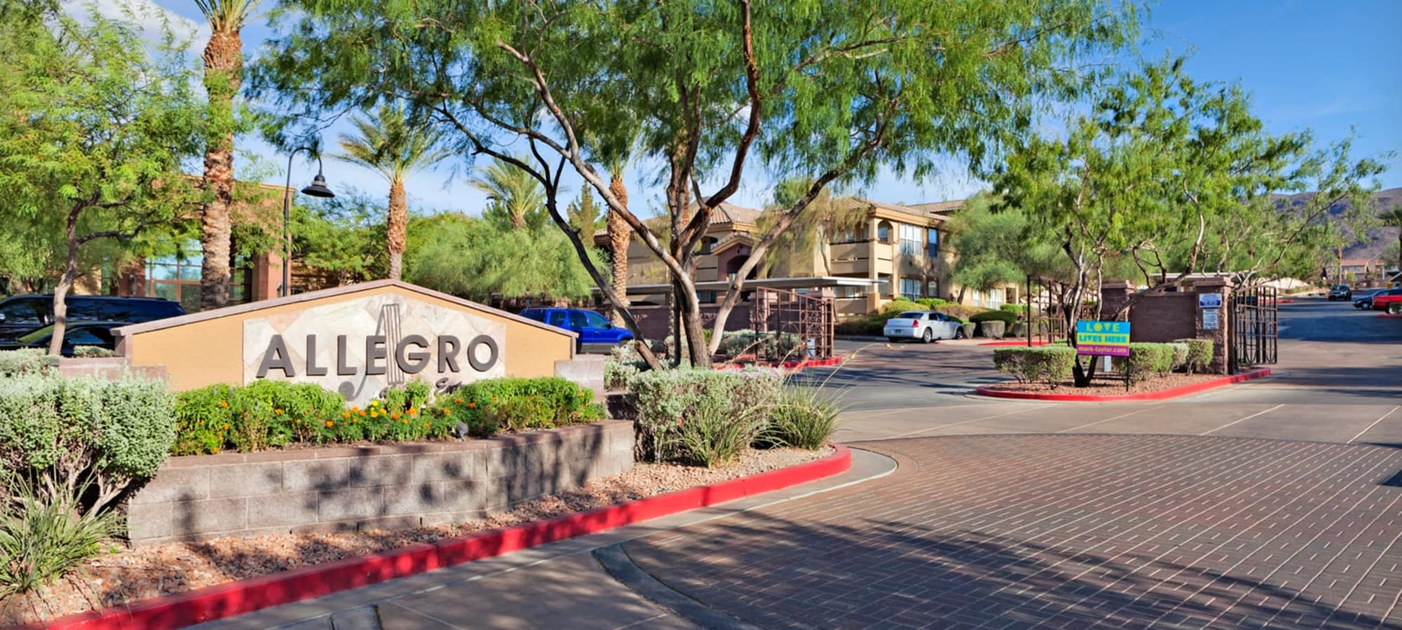 Landscaping around entry sign at Allegro at La Entrada in Henderson, Nevada