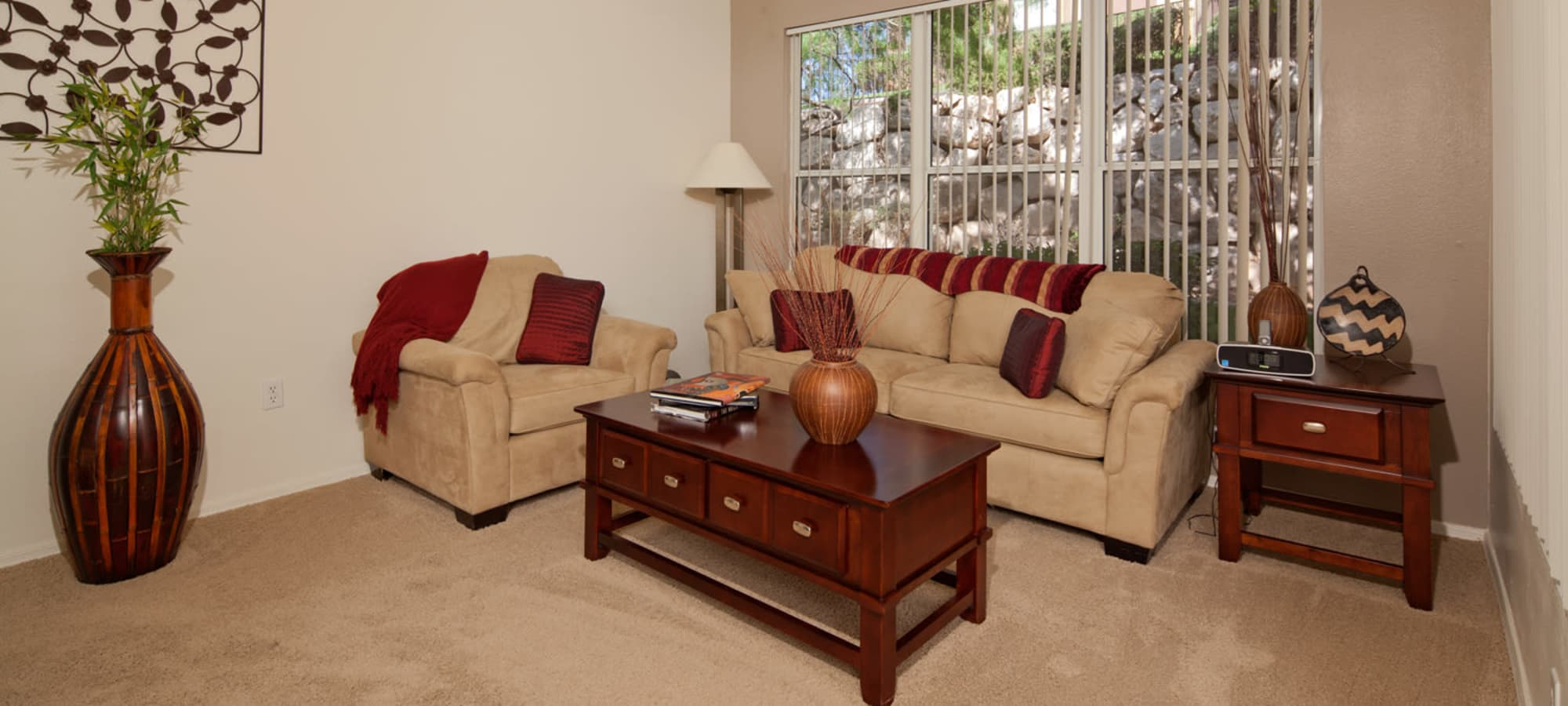 Furnished model living room at Allegro at La Entrada in Henderson, Nevada