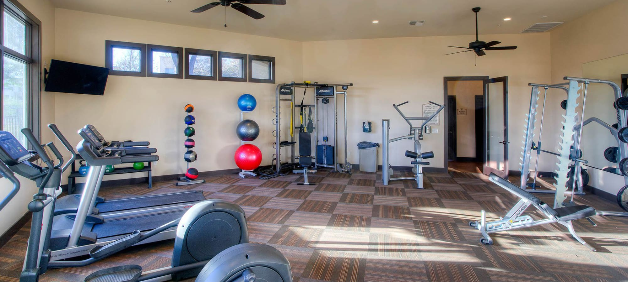 Modern fitness center at The Reserve at Gilbert Towne Centre in Gilbert, Arizona