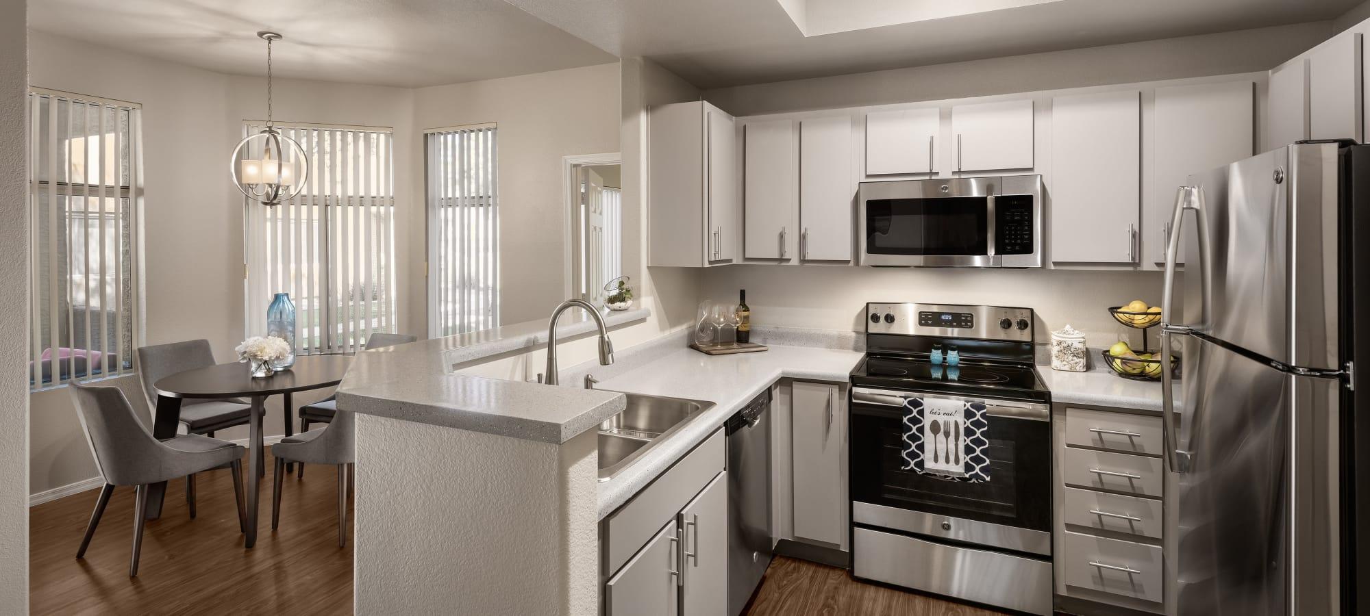 Open kitchen with granite counter tops at Bellagio in Scottsdale, Arizona